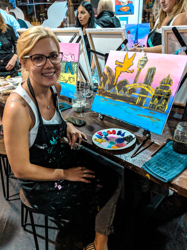 Cork & Canvas painting session